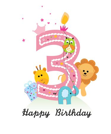 Happy third birthday with animals baby girl greeting card vecto Vetores