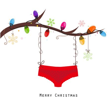 Merry christmas hanging red panties vector happy years greeting card