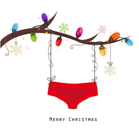 Merry christmas hanging red panties vector happy years greeting card Vetores