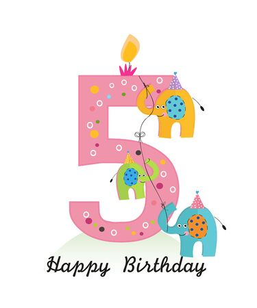 Happy fifth birthday with elephants baby girl greeting card vector
