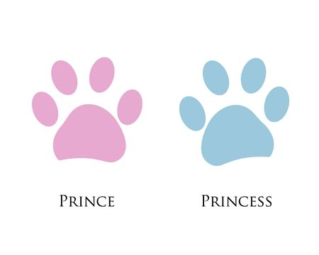 Blue Pink colored paw print with prince and princess text Illusztráció