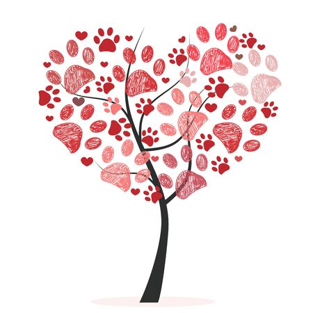 Heart tree made of red doodle paw prints