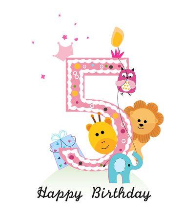 Happy fifth birthday with animals baby boy greeting card vector Ilustración de vector