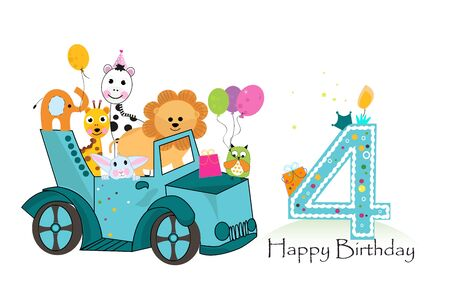 Fourth birthday car with animals background. Birthday greeting card Ilustracja