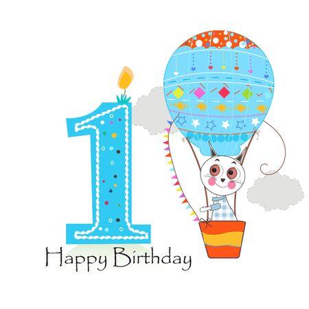 Air balloon and cute cats. Happy birthday greeting card Illusztráció