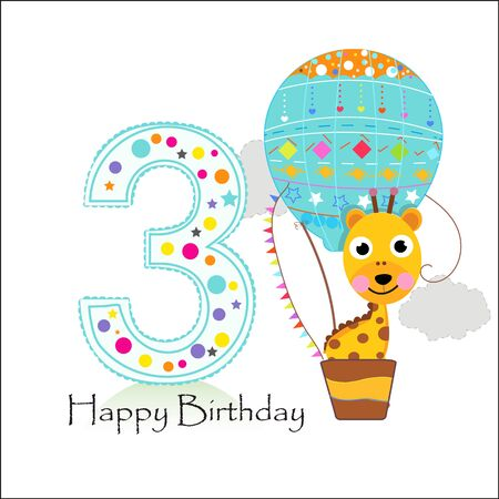 Third birthday with hot air balloon and giraffe. Happy birthday greeting card Illustration