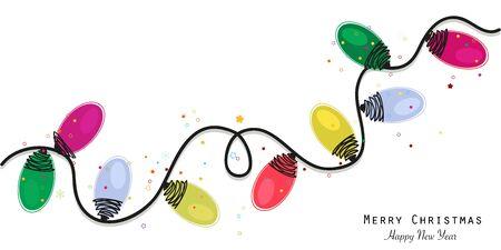 Bunte Weihnachtsglühbirne Grußkarte Vektor-Illustration Wallpaper Hintergrund Vektorgrafik