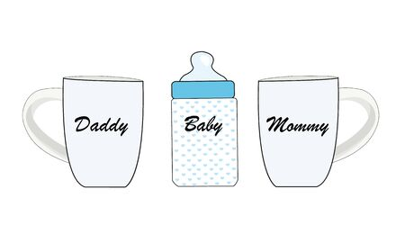 Baby bottle, Daddy and Mommy coffee cup. Baby gender reveal greeting card Standard-Bild - 148134640
