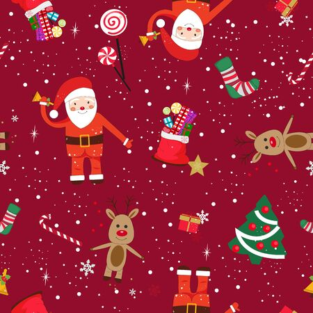 New year theme seamless pattern. Santa Claus with red ribbon Banco de Imagens - 149969042