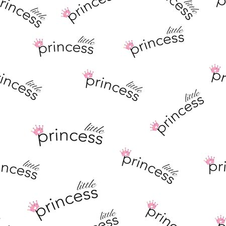 Little Princess crown text. Seamless baby shower baby girl illustration pattern for fabric design