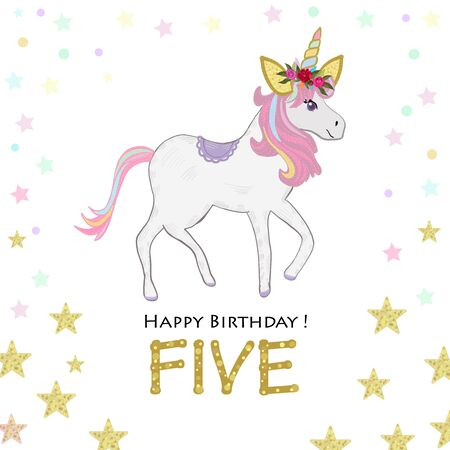 Fifth birthday. Five. Unicorn Birthday invitation. Party invitation greeting card