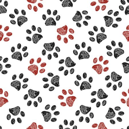 Seamless pattern for textile design. Seamless doodle black and red paw prints pattern