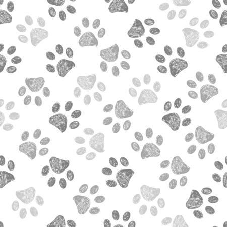 Hand drawn brown and black colored paw prints. Foot prints background Stock Illustratie