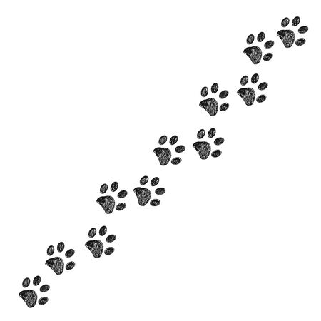 Doodle black paw print. Trace with dog, cat paw prints