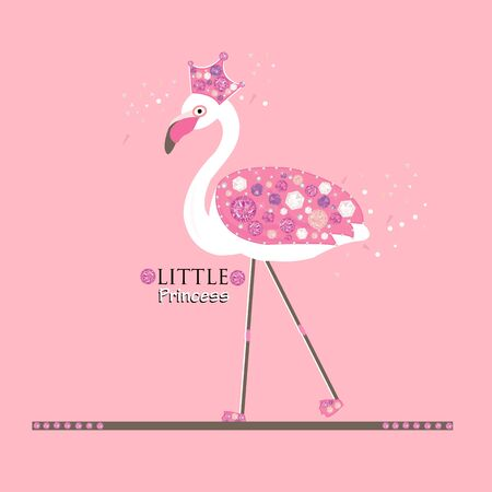 Little Cute Princess. Flamingo. Princess or queen flamingo. Fashion design