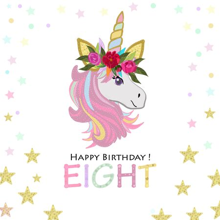 Eighth birthday. Eight. Unicorn Birthday invitation. Party invitation greeting card Illustration