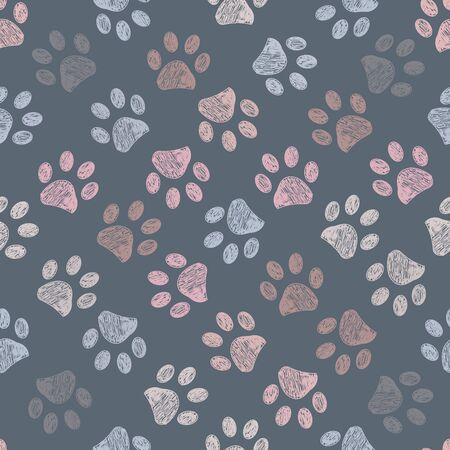 Colorful Paw print pattern vector illustration wallpaper background