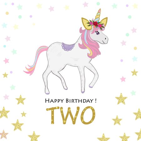 Second birthday. Two. Unicorn Birthday invitation. Party invitation greeting card