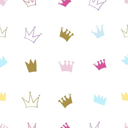 Hand drawn colorful crown. Seamless crown illustration pattern for fabric design gift paper Illustration