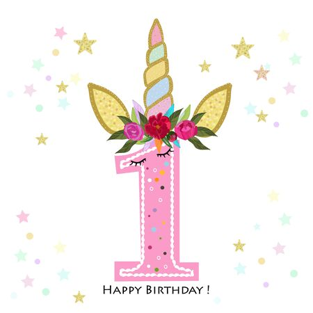 First birtday candle. Four. Unicorn Birthday invitation. Party invitation greeting card