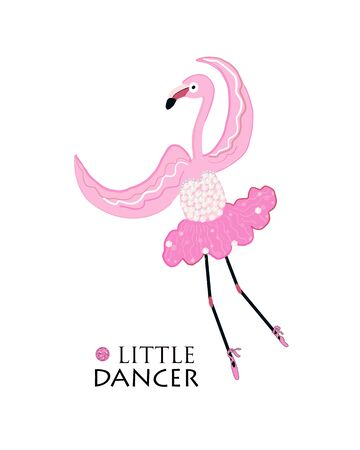 Little Dancer. Dancing ballerina flamingo. Fashion t shirt design