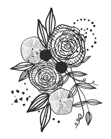 Summer time abstract black flowers. Nature theme. Abstract rose silhouette. Abstract tattoo design vector floral design pattern