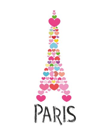 Eiffel tower made of colorful hearts vector illustration