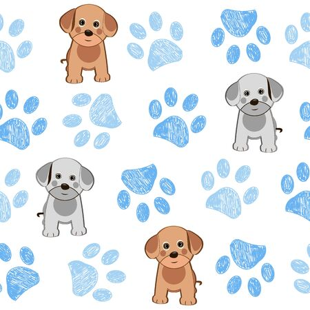 Cute dog and doodle paw prints pink paws pattern