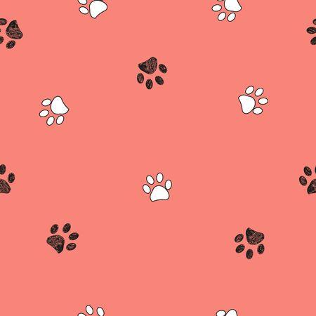 Black doodle paw prints with orange background seamless pattern. Happy Halloween background Vector Illustratie