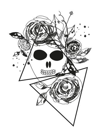 Abstract rose silhouette. Skull. Triangle geometric rose. Summer time abstract black flowers. Nature theme. Abstract tattoo 向量圖像