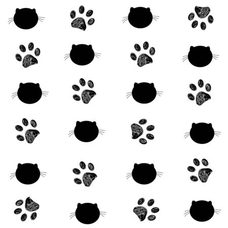 Cat and paw prints black white background Illustration