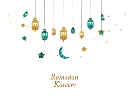 Ramadan Kareem gold and green colored with hanging lamps, crescents and stars. Traditional lantern of Ramadan greeting card  イラスト・ベクター素材