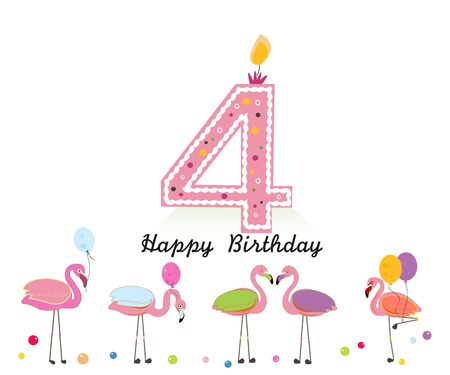 Four candle. Happy fourth birthday candle letter. Exotic birds. Set of different poses. Colorful Flamingo