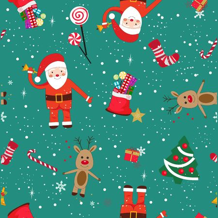 New year theme seamless pattern. Santa Claus and New Year Gift Ilustração
