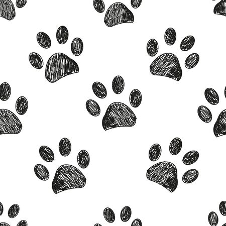 Seamless pattern for textile design. Black and white paw print pattern background Stock Illustratie