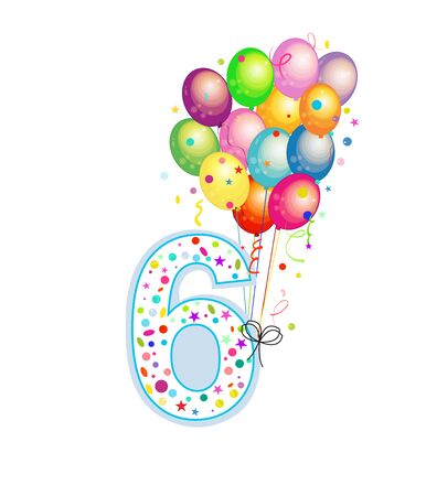 Happy sixth birthday candle. Six numbered balloon. Colorful balloons. Greeting card background