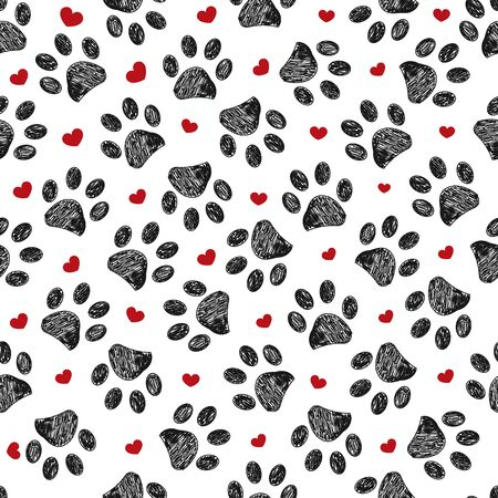 Doodle black paw print with red shining hearts seamless pattern Stock Illustratie