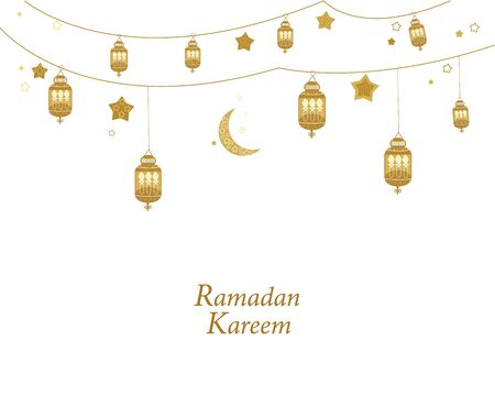 Ramadan Kareem gold colored with lamps, crescents and stars. Traditional lantern of Ramadan greeting card  イラスト・ベクター素材
