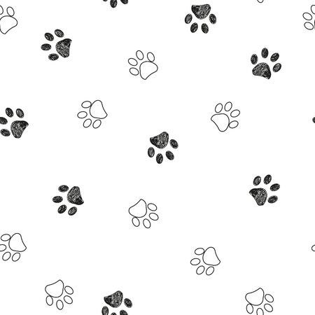 Black and white paw print repeated pattern
