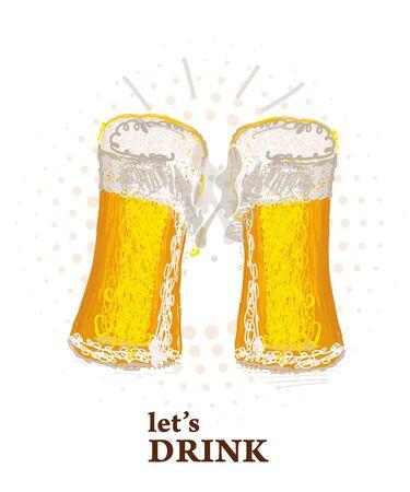 Two glasses of beer toasting creating splash.Beer festival. Beer glass
