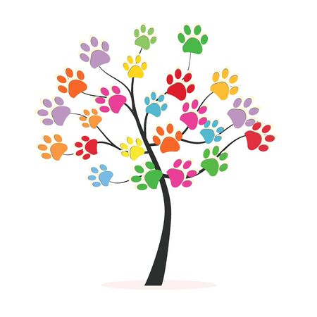 Tree with colorful paw prints backgroud