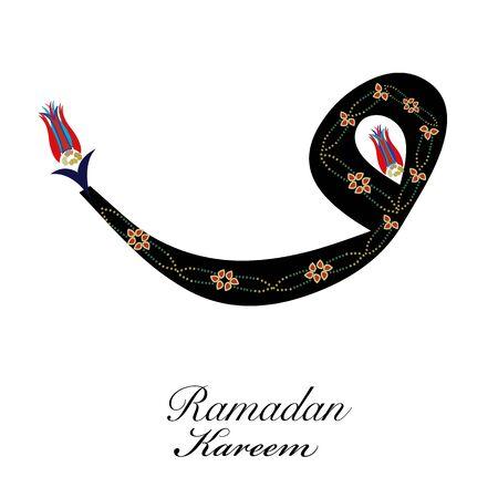 Ramadan Kareem letter with Ottoman tulips symbol