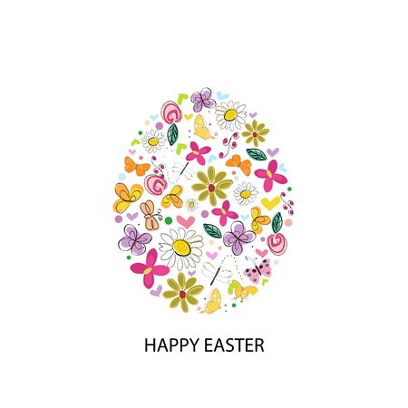 Made of colorful Easter white egg. Colorful Happy Easter greeting card
