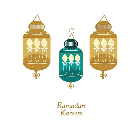 Hand drawn Ramadan Kareem gold and green colored with lamps, crescents and stars. Traditional lantern of Ramadan greeting card background  イラスト・ベクター素材