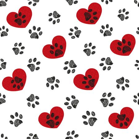 Black paw print with hearts. Happy Valentine's Day background Stock Illustratie