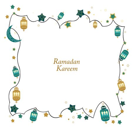 Hand drawn Ramadan Kareem gold and green colored with hanging lamps, crescents and stars frame. Traditional lantern of Ramadan greeting card background  イラスト・ベクター素材
