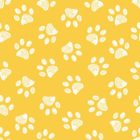Doodle white paw print seamless fabric design repeated pattern yellow background