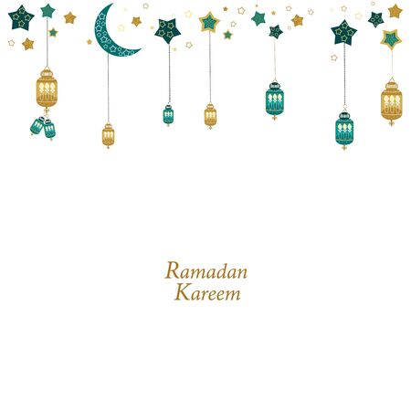 Hand drawn Ramadan Kareem gold and green colored with hanging lamps, crescents and stars. Traditional lantern of Ramadan greeting card background