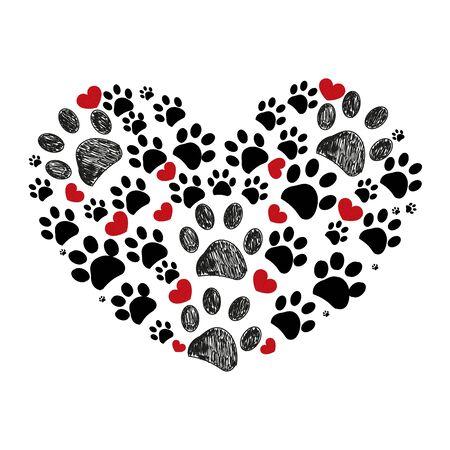 Black and red dog paw print made of heart vector illustration background Ilustração