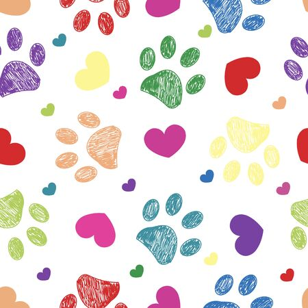 Black doodle paw print with retro beautiful hearts. Happy Valentine's day, Mother's Day seamless fabric design pattern background vector